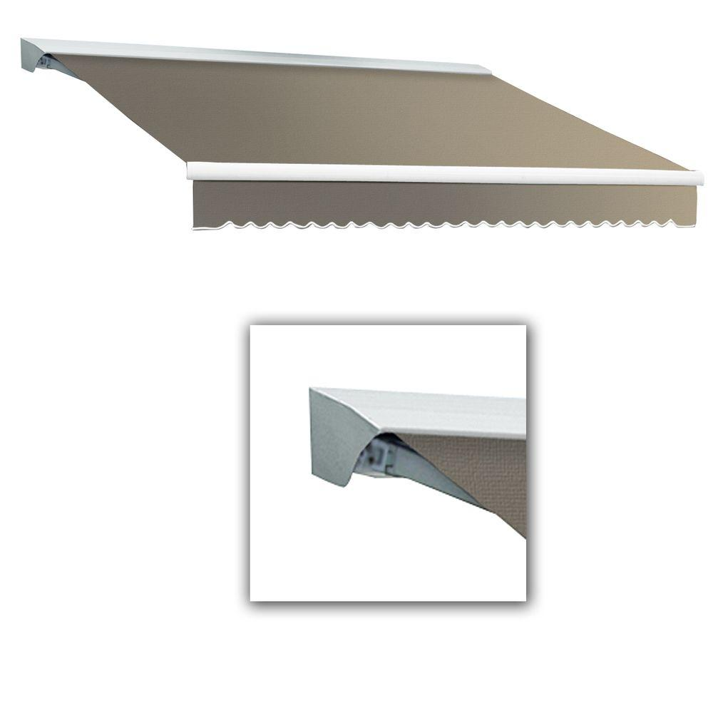 AWNTECH 14 ft. LX-Destin with Hood Left Motor/Remote Retractable Acrylic Awning (120 in. Projection) in Taupe