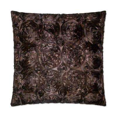 Silk Roses Brown Feather Down 24 in. x 24 in. Standard Decorative Throw Pillow
