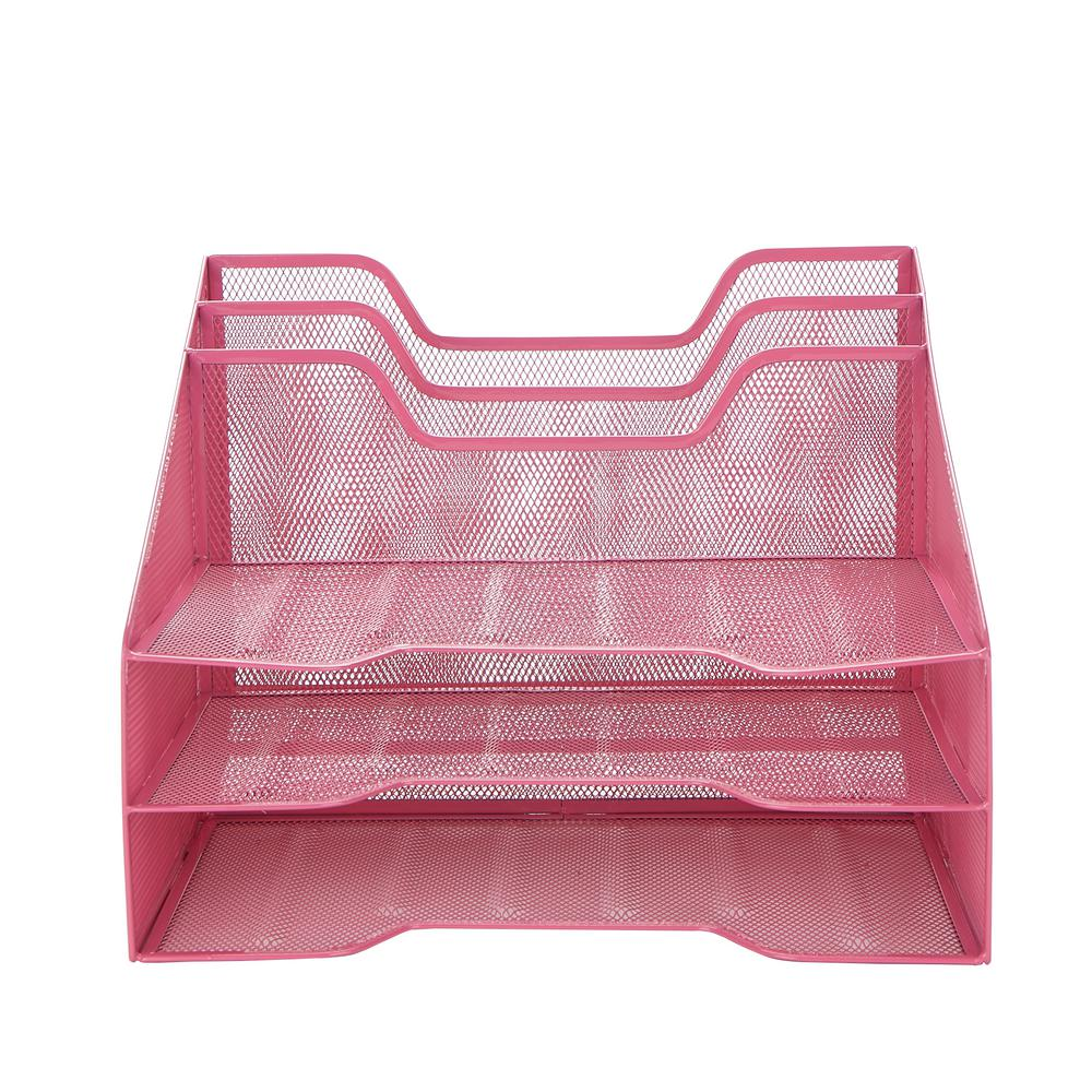 Awe Inspiring Mesh Desk Organizer 5 Trays Desktop Document Letter Tray For Folders Mail Stationary Desk Accessories Pink Home Interior And Landscaping Sapresignezvosmurscom