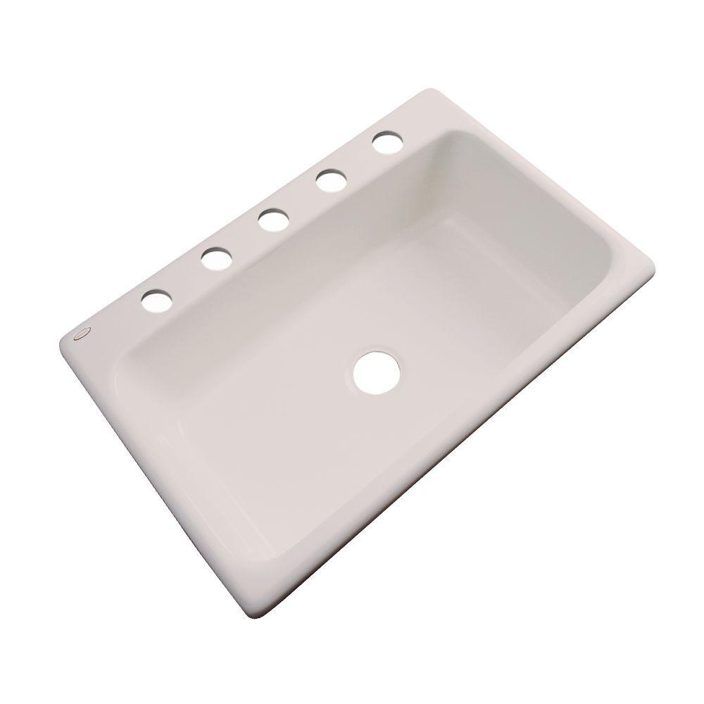 Manhattan Drop-In Acrylic 33 in. 5-Hole Single Bowl Kitchen Sink in Shell