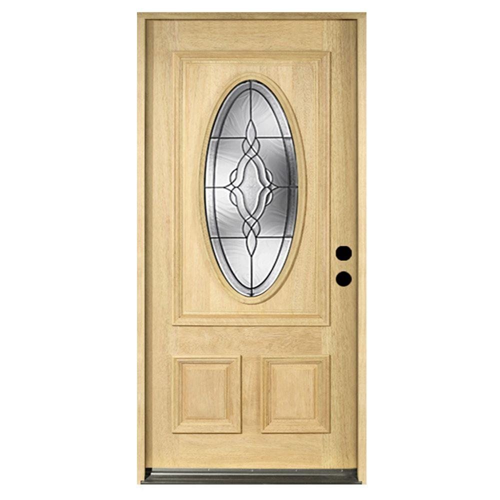 null 36 in. x 80 in. Solid Mahogany Type Unfinished Patina Beveled Glass 3/4 Oval Prehung Front Door