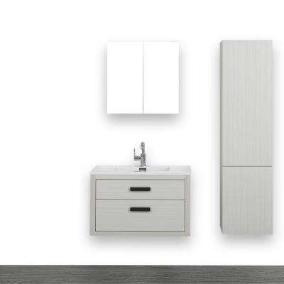 31.5 in. W x 19.3 in. H Bath Vanity in Ash Gray with Resin Vanity Top in White with White Basin and Mirror
