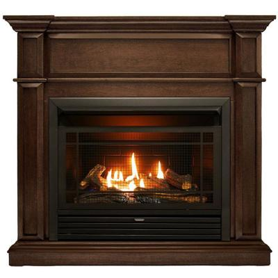 41 in. Full Size Ventless Dual Fuel Fireplace in Gingerbread with Remote Control