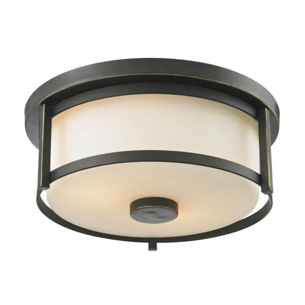 Lacy 2-Light Old Bronze Steel Modern Rustic Flush Mount with Matte Opal Glass Shades