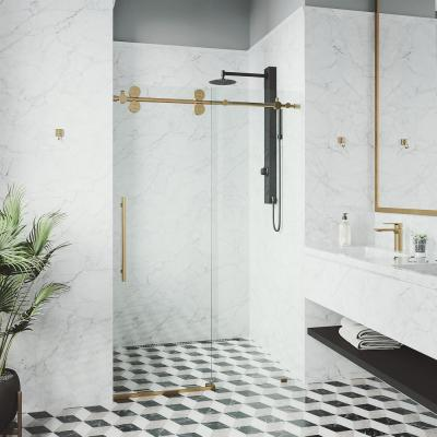 Elan 68 to 72 in. x 74 in. Frameless Sliding Shower Door in Matte Brushed Gold with Clear Glass and Handle