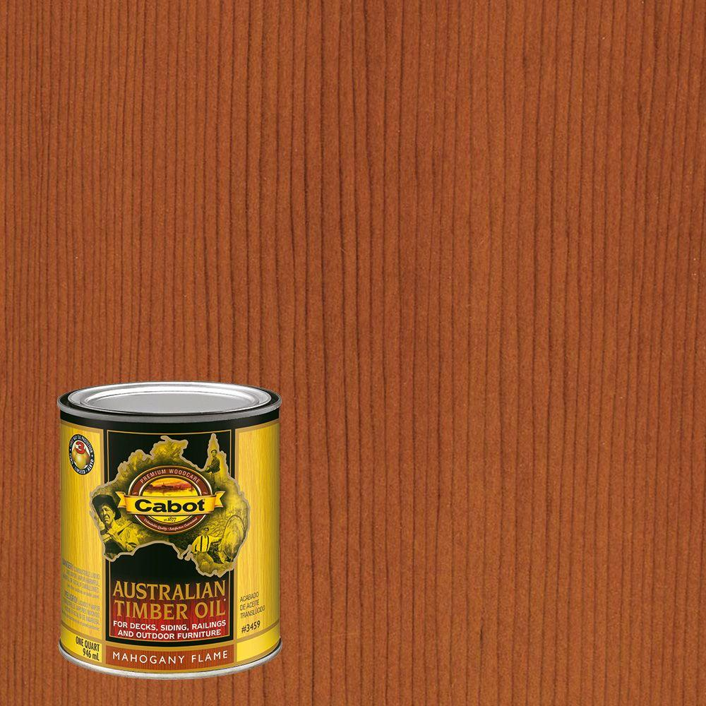 Cabot 1 qt mahogany flame australian timber oil exterior wood finish the home for Home depot exterior wood stain