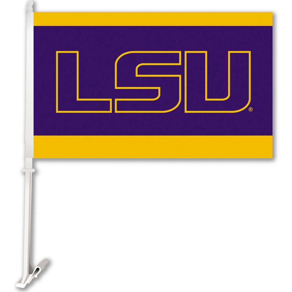 Ncaa 11 in. x 18 in. LSU 2-Sided Car Flag with 1-1/2 ft. Plastic Flagpole (Set of 2)