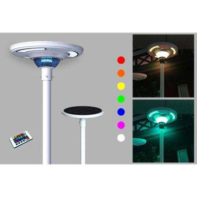 360° White UFO Round Solar Powered Outdoor Motion Sensing RGB Integrated LED Post Light w/ Remote