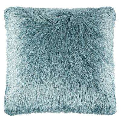 Soleil Shag 20 in. x 20 in. Blue Square Outdoor Throw Pillow
