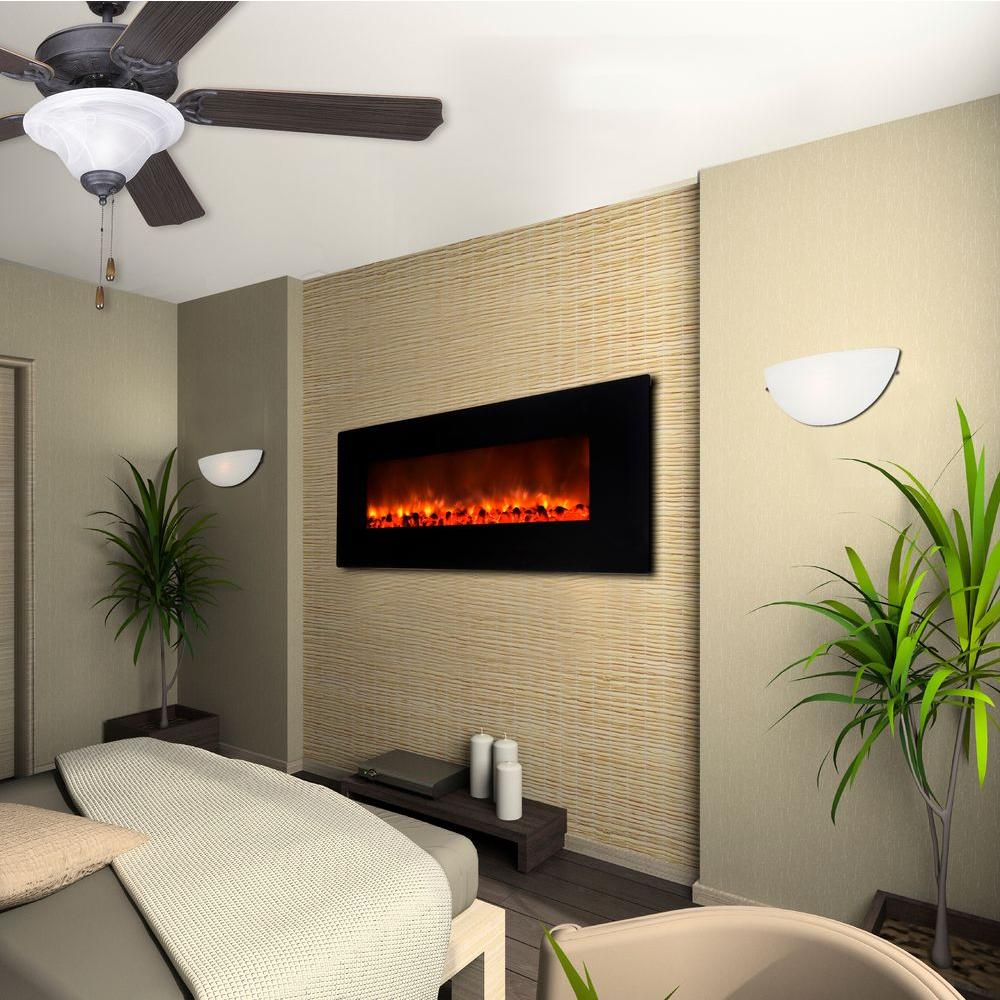 Yosemite Home Decor Carbon Flame 35 in. Wall-Mount Electric Fireplace in Black