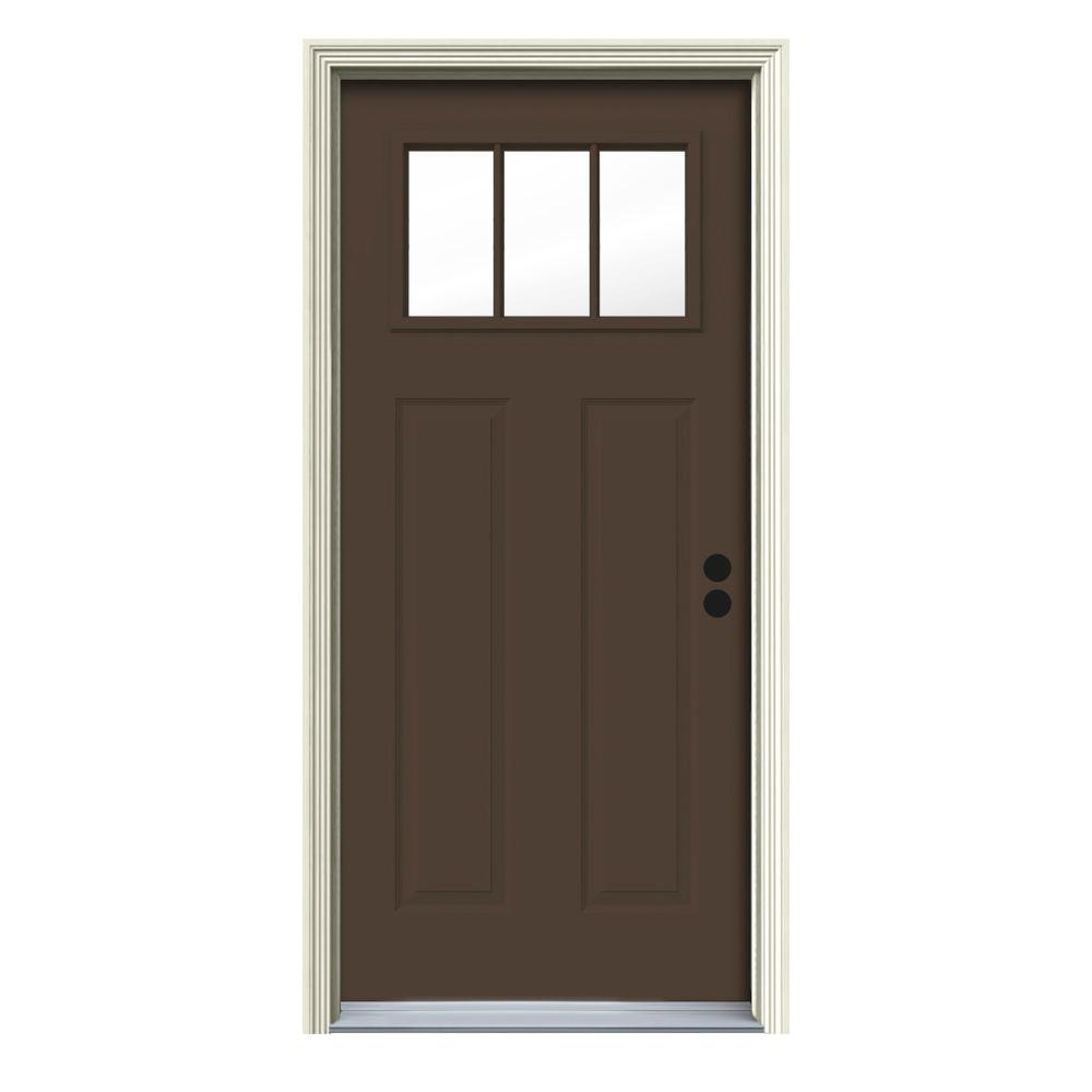 32 in. x 80 in. 3 Lite Craftsman Dark Chocolate Painted