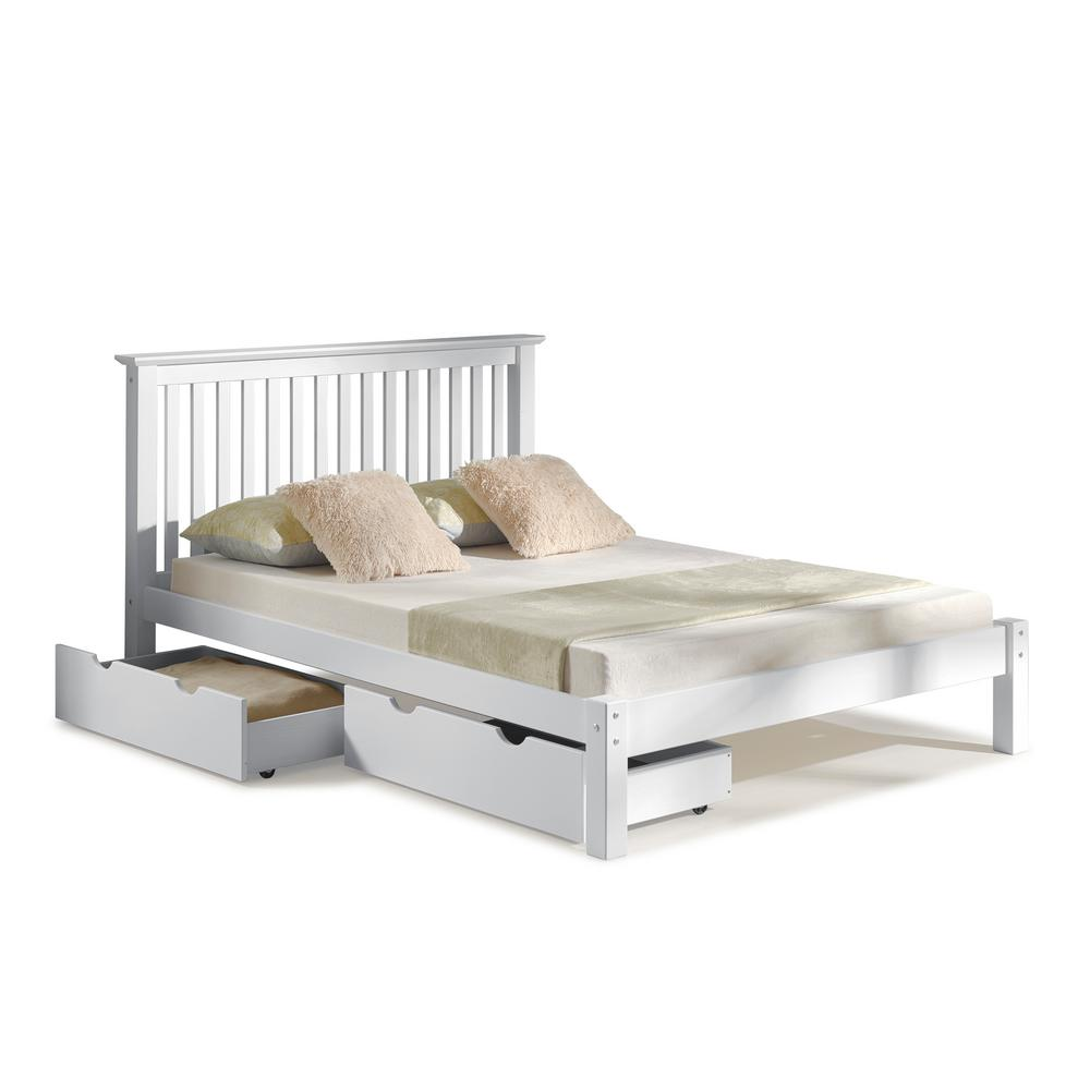Alaterre Furniture Barcelona White Queen Bed With Storage Drawers