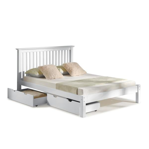 Alaterre Furniture Barcelona White Queen Bed with Storage Drawers AJBA30WHS