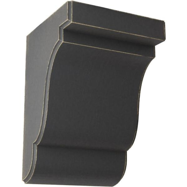 Ekena Millwork 5 1 4 In X 7 1 2 In X 5 In Black Bedford Wood Vintage Decor Bracket Bktwd05x05x08bebl The Home Depot
