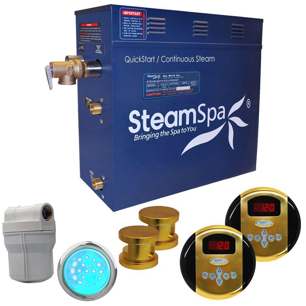 SteamSpa Royal 12kW Steam Bath Generator Package in Polished Brass