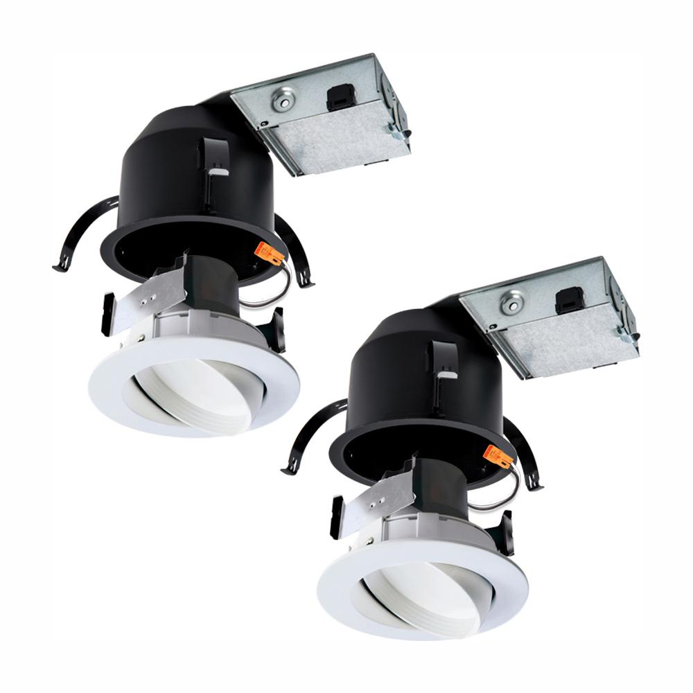 Halo RA 4 in  Ultra Shallow Remodel Ceiling Housing and Dimmable White  Integrated LED Recessed Spotlight Kit, T24, (2-Pack)