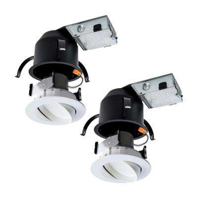 RA 4 in. Ultra Shallow Remodel Ceiling Housing and Dimmable White Integrated LED Recessed Spotlight Kit, T24, (2-Pack)