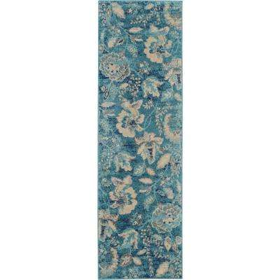 Tranquil TRA02 Turquoise Blue and White 2 ft. x 7 ft. Hallway Runner Rug