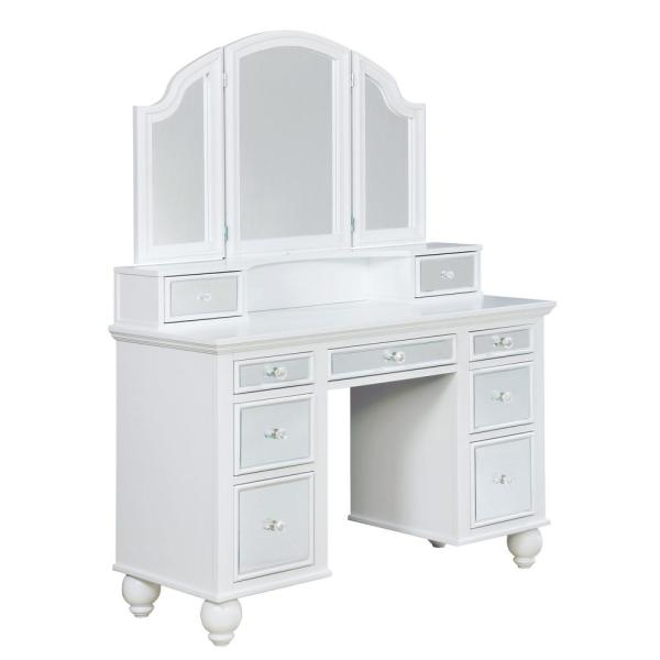 Furniture Of America Serena 2 Piece White Mirror Panel Vanity Set