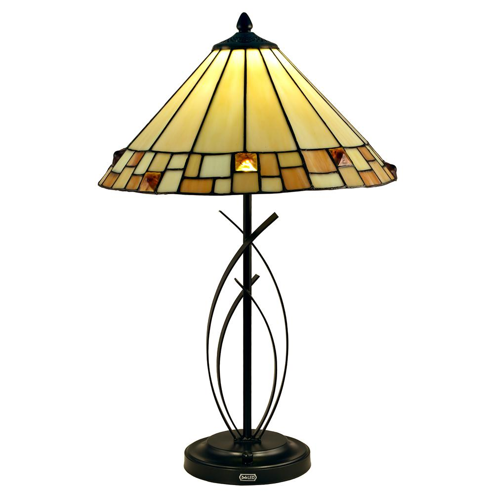 Springdale Lighting Sundance 25 in. Tiffany Bronze Table Lamp with Hand Rolled Art Glass Shade