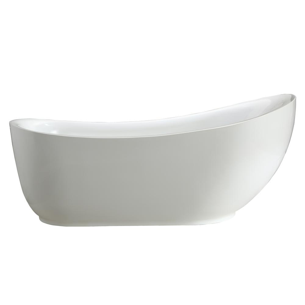 Everlie 5.9 ft. Acrylic Flatbottom Non-Whirlpool Bathtub in White