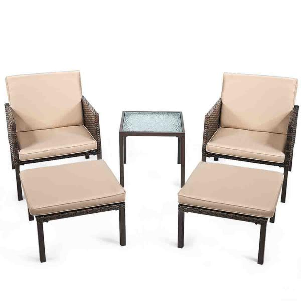 Brown 5-Piece Rattan Wicker Outdoor Patio Furniture Bistro Set with Beige Cushions