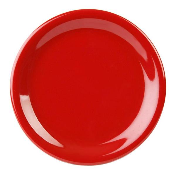 Restaurant Essentials Coleur 9 in. Narrow Rim Plate in Pure Red (12-Piece/set)