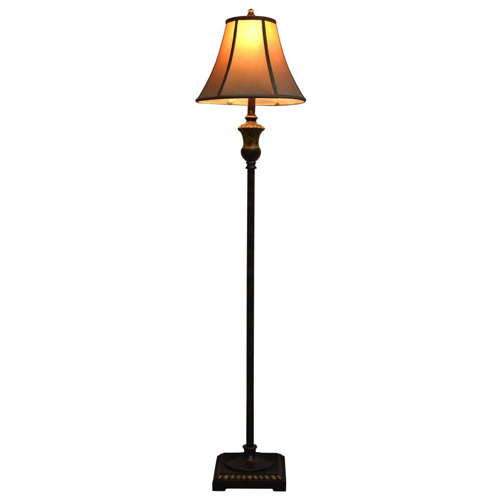 Alice 60 in. Golden Bronze Floor Lamp with Faux Silk Shade