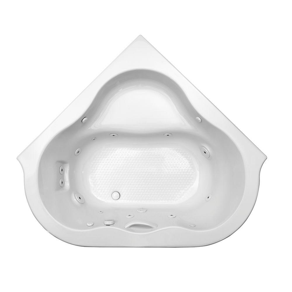 Amazing Acrylic Corner Drop In Whirlpool Bathtub In White 6060LCE.020   The Home  Depot