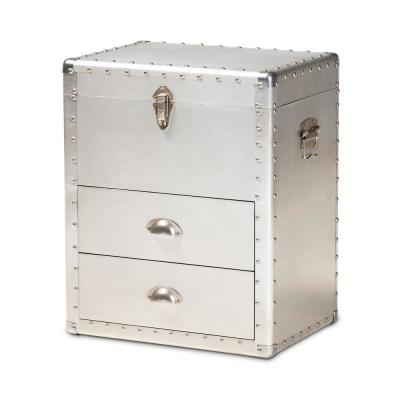 Serge Silver Storage Cabinet with 2-Drawers