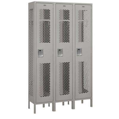 81000 Series 45 in. W x 78 in. H x 15 in. D Single Tier Extra Wide Vented Metal Locker Assembled in Gray