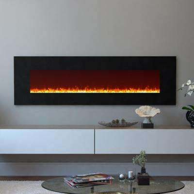 Skyline 72 in. Skyline Crystal Electric Wall Mounted Fireplace in Black