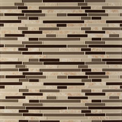 Amalfi Cafe Interlocking 12 in. x 12 in. x 6 mm Glass and Porcelain Mesh-Mounted Mosaic Wall Tile (1 sq. ft.)