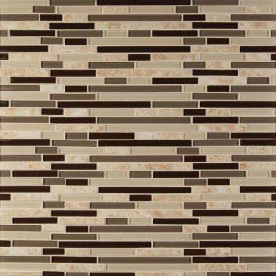 Amalfi Cafe Interlocking 12 in. x 12 in. x 6 mm Glossy Glass and Porcelain Mesh-Mounted Mosaic Wall Tile (1 sq. ft.)