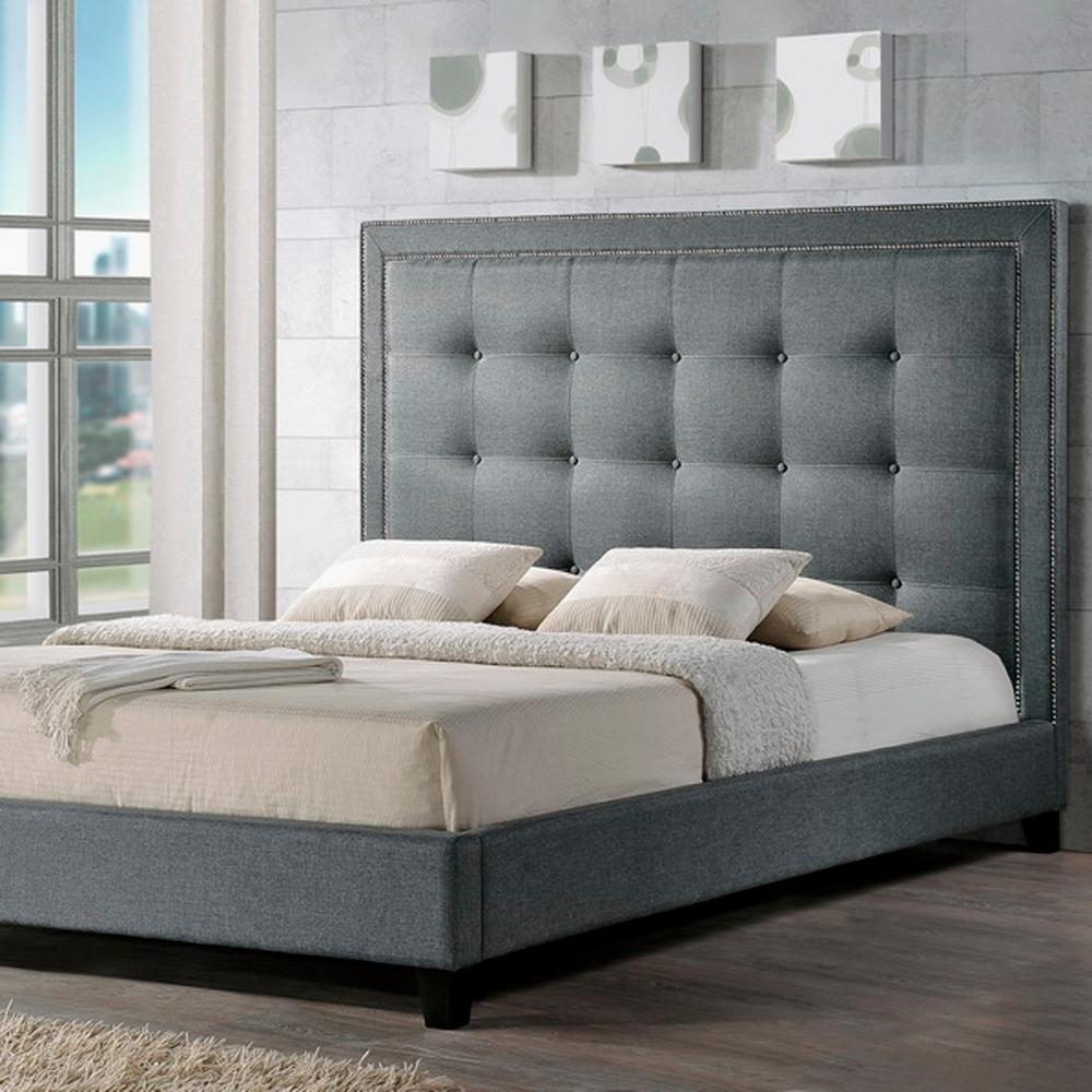 King Size Bed.Hirst Transitional Gray Fabric Upholstered King Size Bed