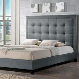 8105f31b58ee Baxton Studio-Hirst Transitional Gray Fabric Upholstered Queen Size Bed
