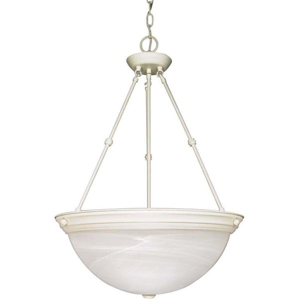 3-Light Textured White Pendant with Alabaster Glass