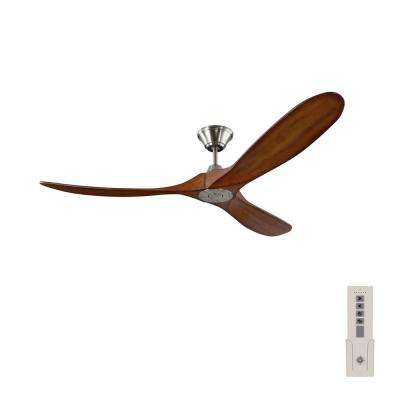 Maverick 60 in. Indoor/Outdoor Brushed Steel Ceiling Fan with Koa Blades with Remote Control