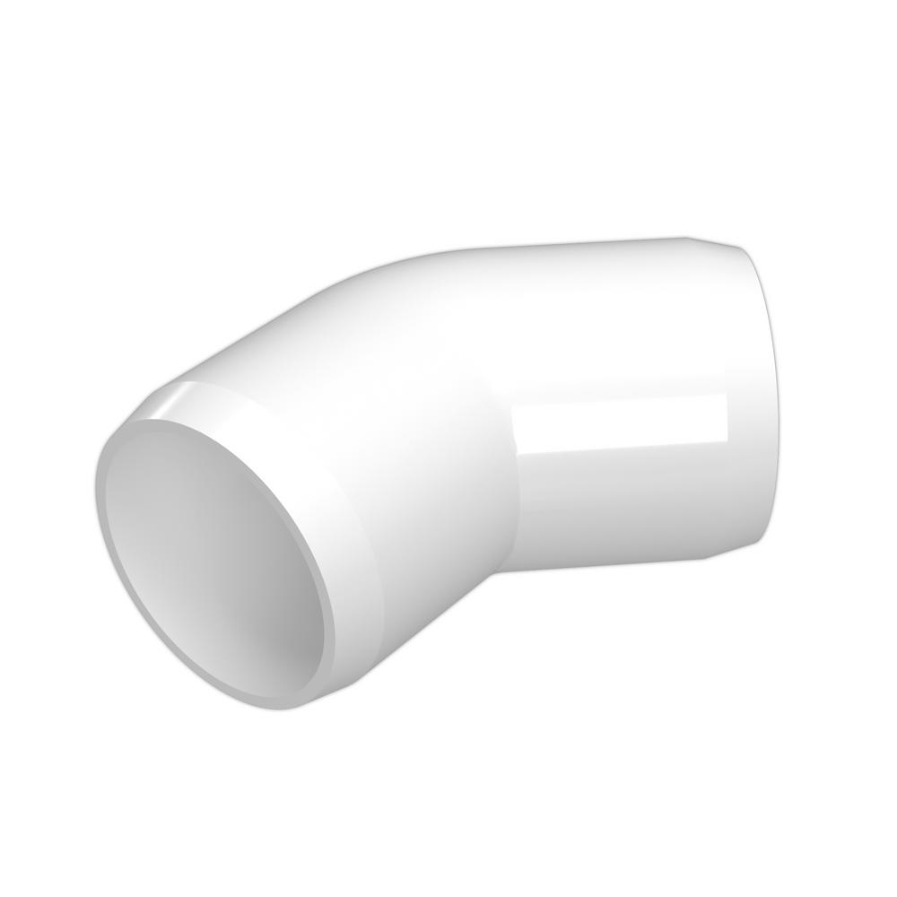 Formufit 1 1 2 In Furniture Grade Pvc 45 Degree Elbow In White 4 Pack F11245e Wh 4 The Home Depot