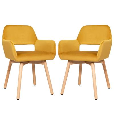 Modern Accent Armchairs Velvet Fabric Leisure Chairs in Yellow(Set of 2)