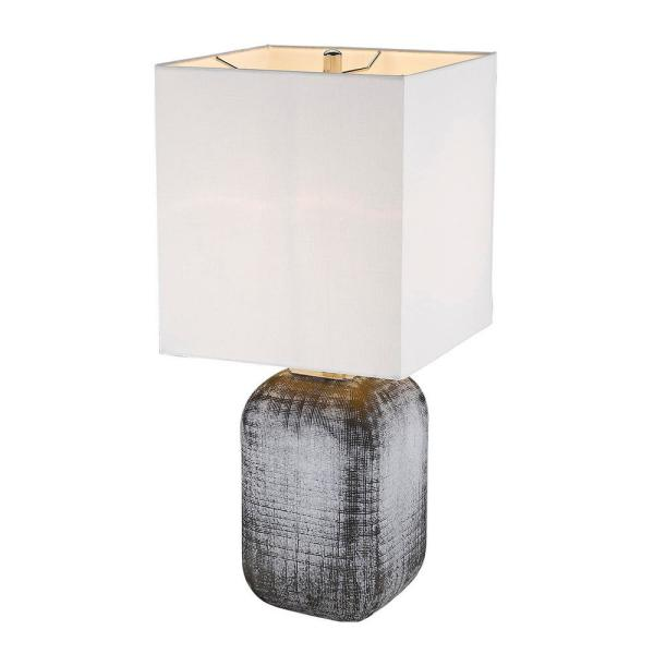 Trend Home 24.75 in. Gray Glass Table Lamp