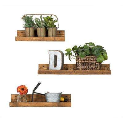 Rustic Luxe 7 in. Depth Walnut Pine Wood Floating Decorative Wall Shelf Set