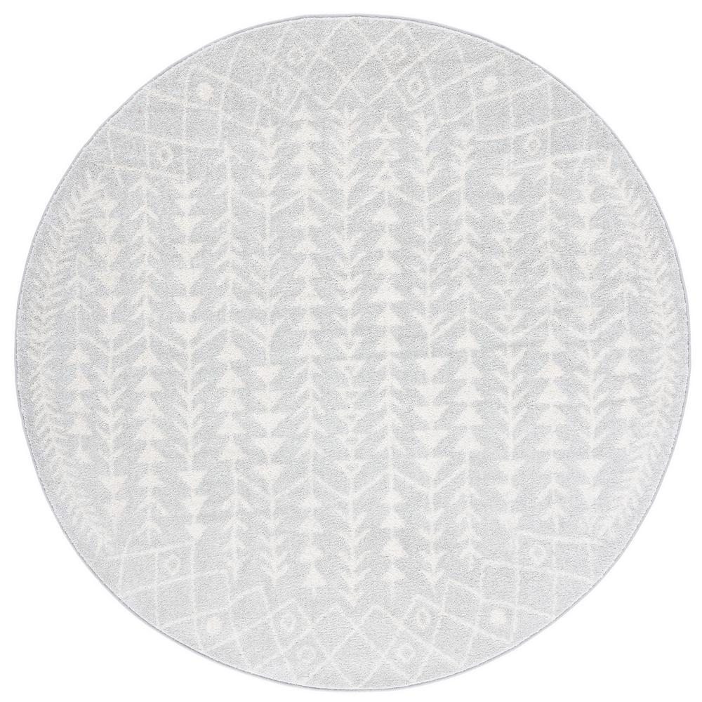 Tulum Light Gray/Ivory 7 ft. x 7 ft. Round Area Rug