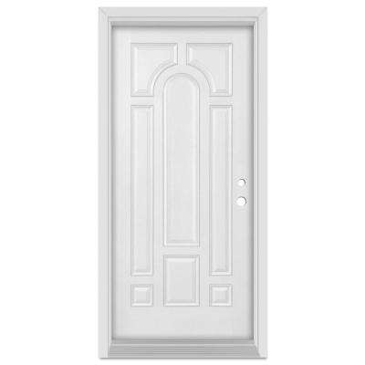33.375 in. x 83 in. Infinity Left-Hand Inswing 8 Panel Finished Fiberglass Mahogany Woodgrain Prehung Front Door