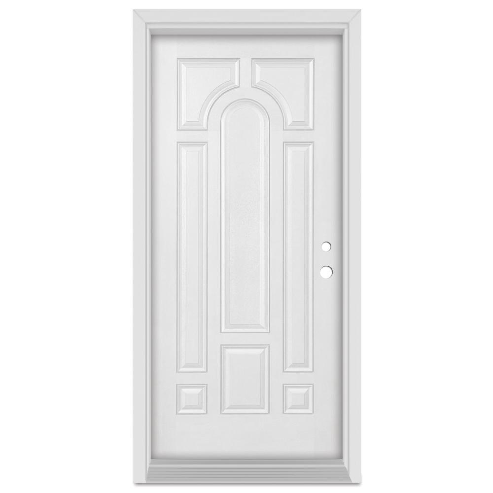 32 in. x 80 in. Infinity Left-Hand Inswing 8 Panel Finished Fiberglass Mahogany Woodgrain Prehung Front Door
