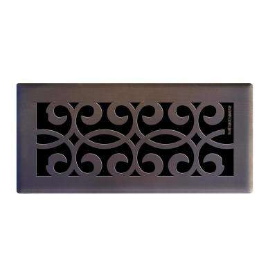 4 in. x 10 in. Classic Scroll Floor Register in Oil Rubbed Bronze