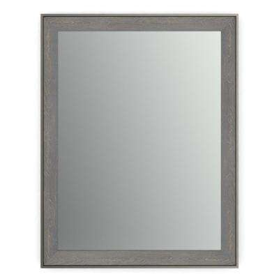 28 in. x 36 in. (M1) Rectangular Framed Mirror with Standard Glass and Easy-Cleat Float Mount Hardware in Weathered Wood