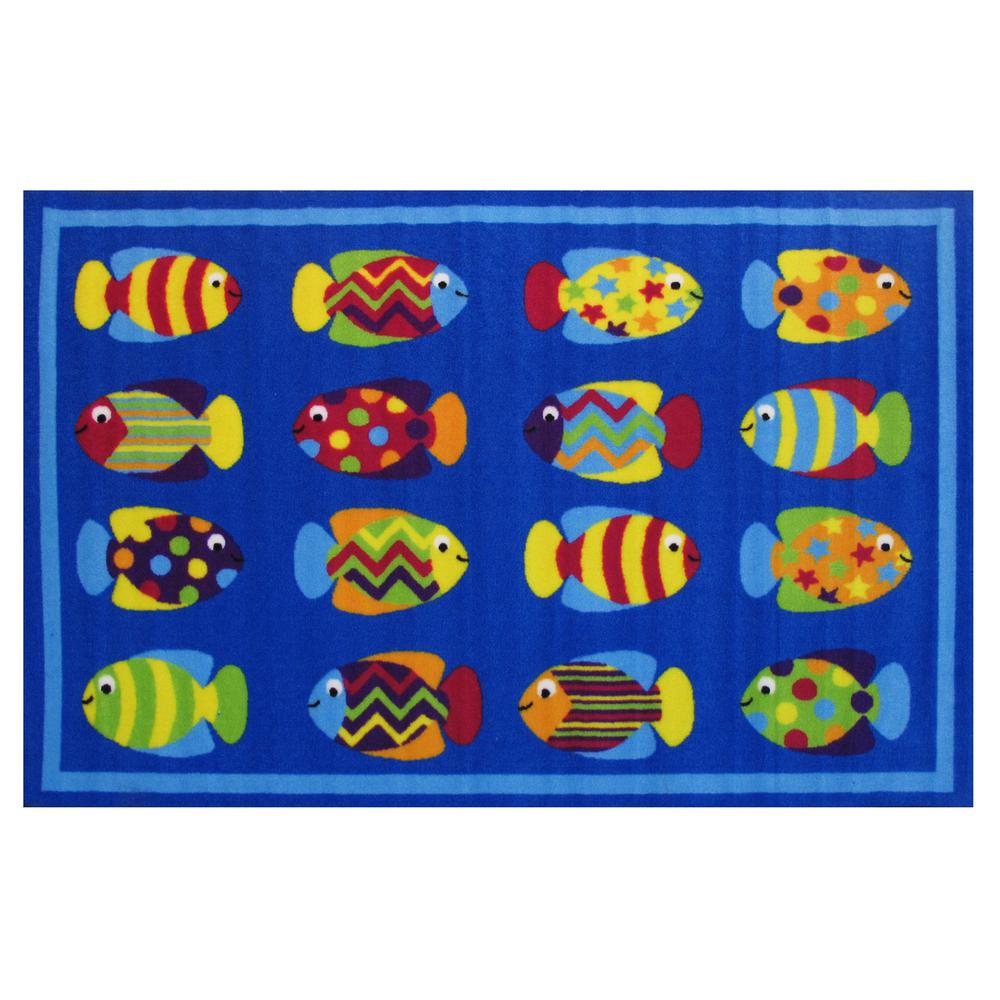 Fun Time Fish Tank Blue 3 ft. x 5 ft. Area Rug