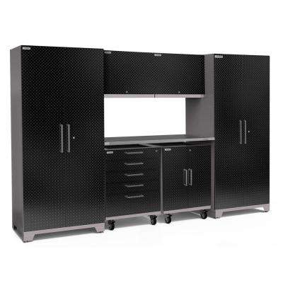 Performance Plus Diamond Plate 2.0 133 in. W x 83.25 in. H x 24 in. D Garage Cabinet Set in Black (7-Piece)