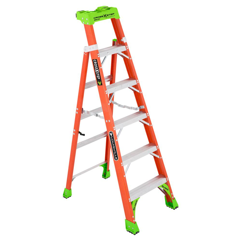 Louisville Ladder Cross Step 6 Ft Fiberglass Leaning Step Ladder 10 Ft Reach 300 Lbs Load Capacity Type Ia Duty Rating L 3080 06 The Home Depot